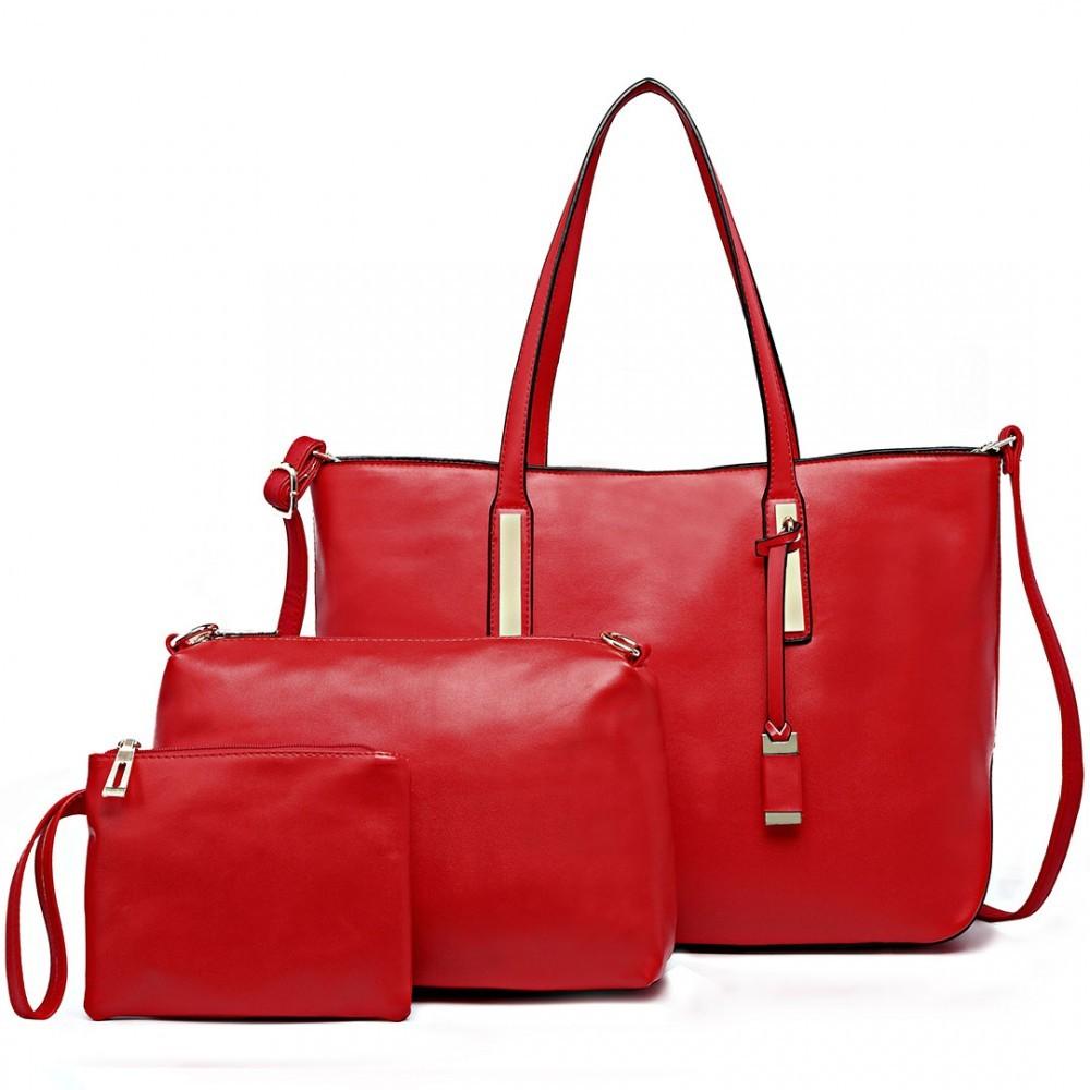 Červená luxusní moderní dámská 3v1 kabelka Luxien