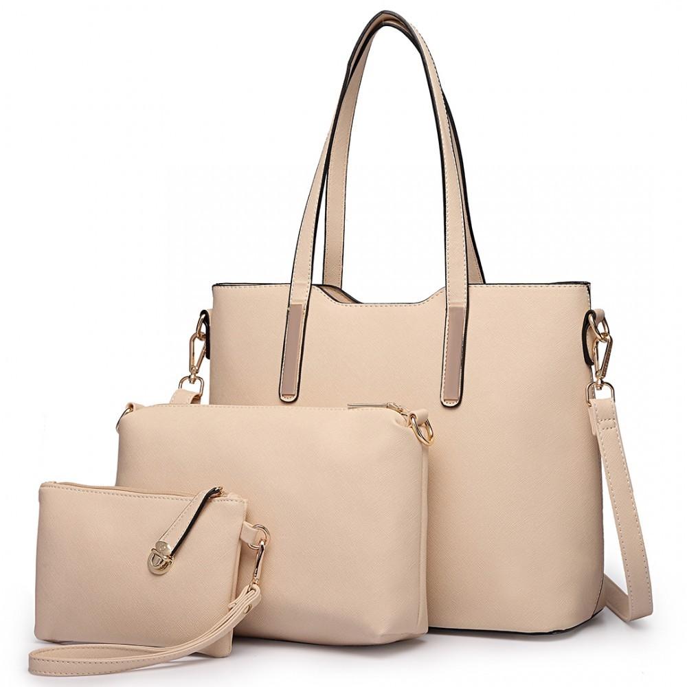 Béžový praktický dámský 3v1 kabelkový set Manmie