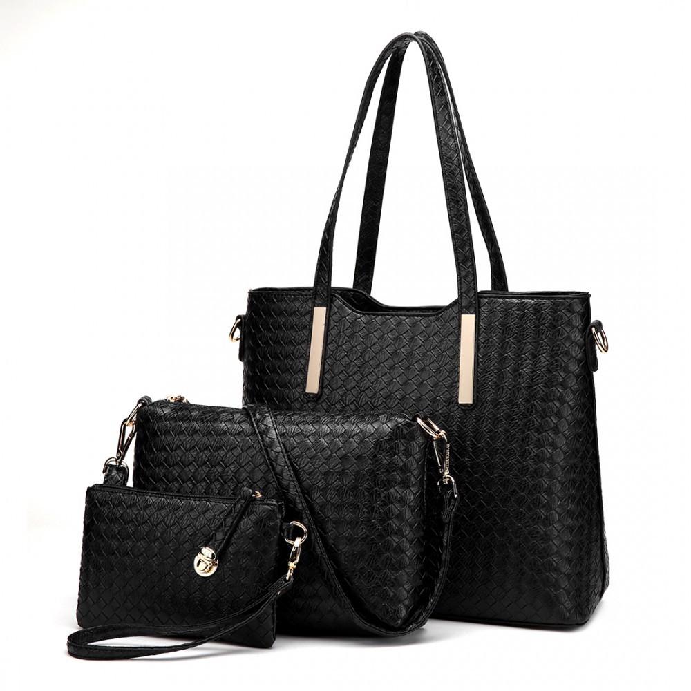 Černý dámský praktický lakovaný dámský kabelkový set 3v1 Bernie