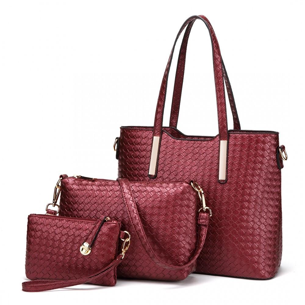 Červený dámský praktický lakovaný dámský kabelkový set 3v1 Bernie