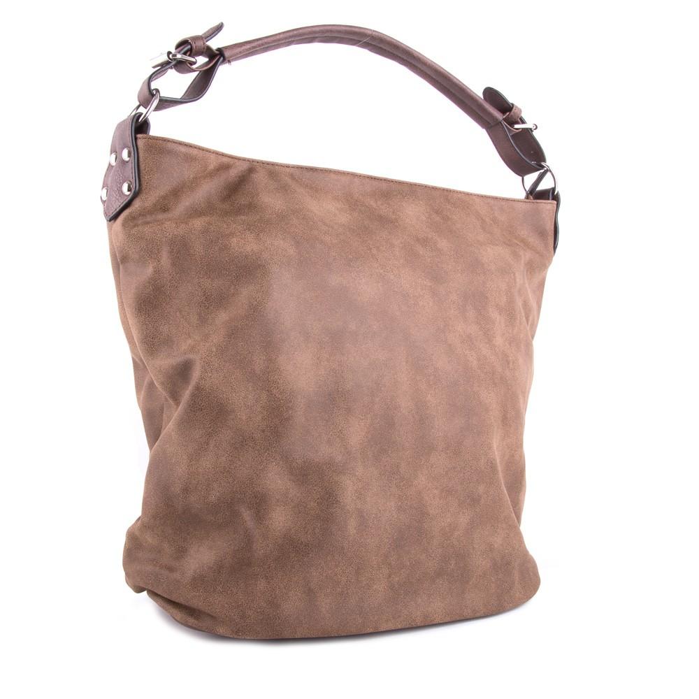 Světlá kávově hnědá velká dámská kabelka přes rameno Sebie