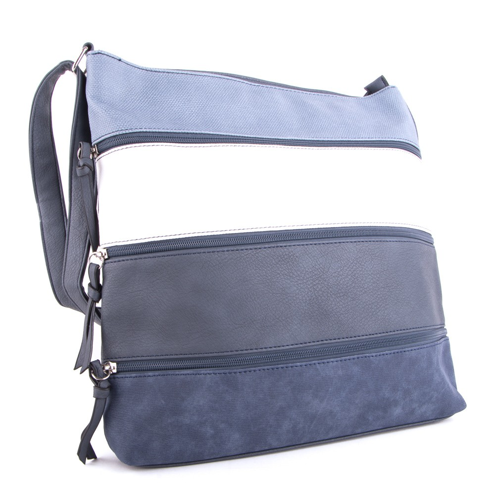 Modro bílá třízipová dámská crossbody kabelka Liduel