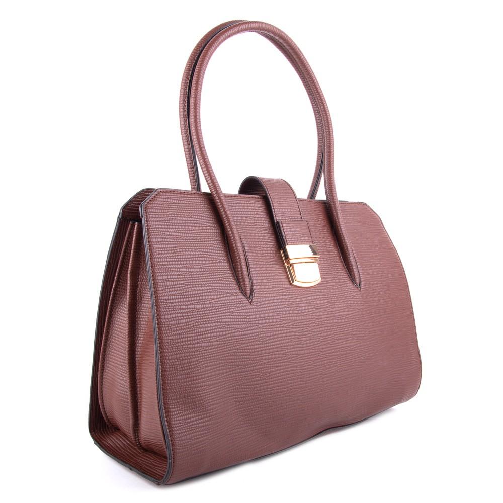 Hnědá dámská luxusní kabelka s netradičním vzorem Nezlien