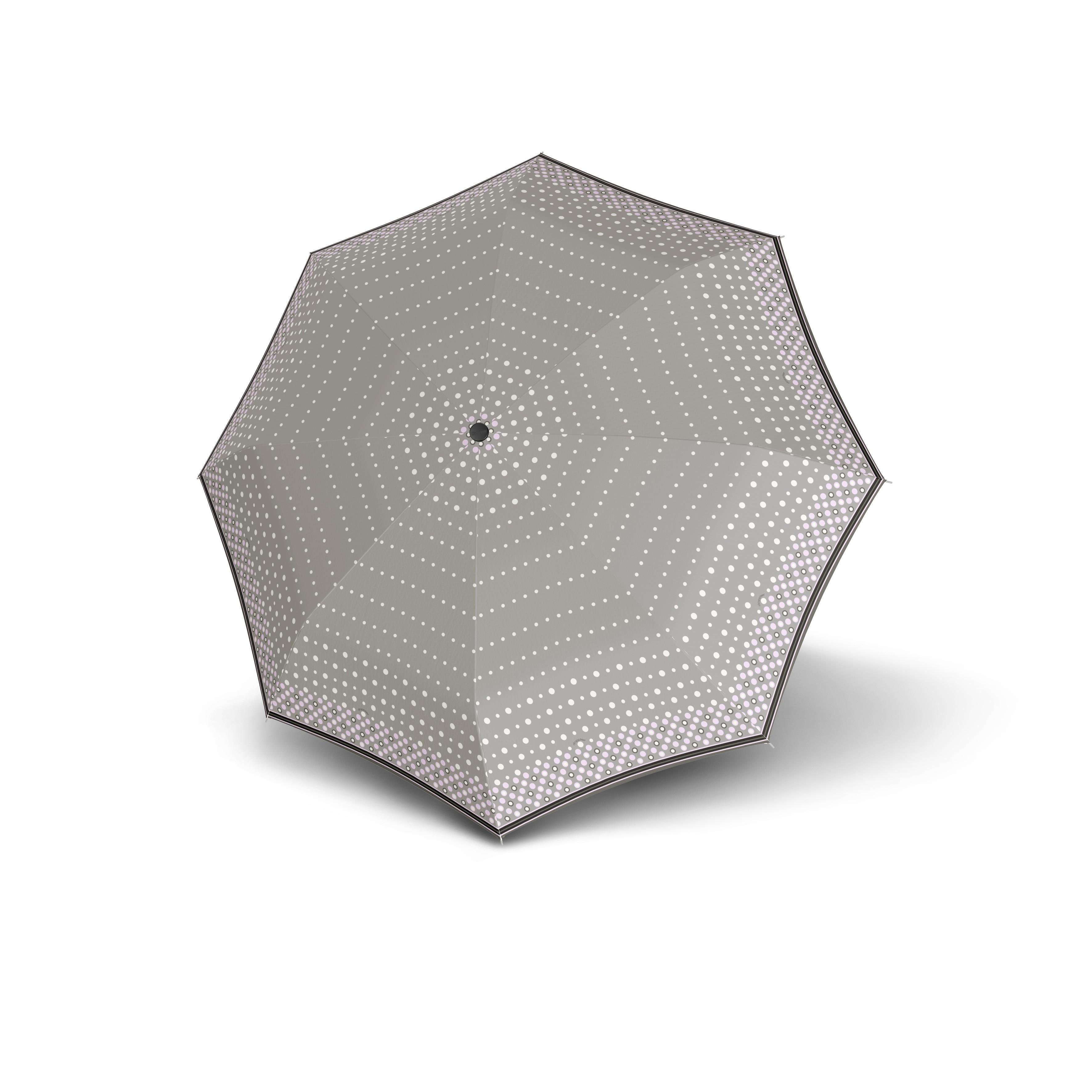 Šedý puntikovaný automatický skládací dámský deštník Abnaki