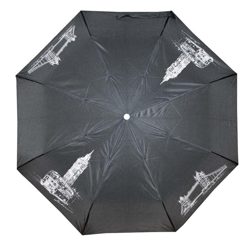 Černý skládací mechanický dámský deštník s motivem Londýna