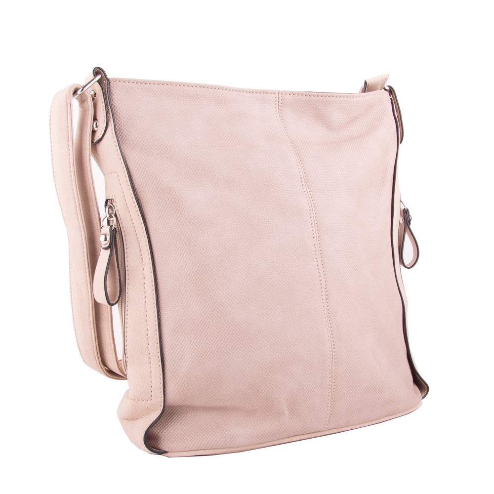Béžová s růžovým nádechem prostorná dámská crossbody kabelka Simsie