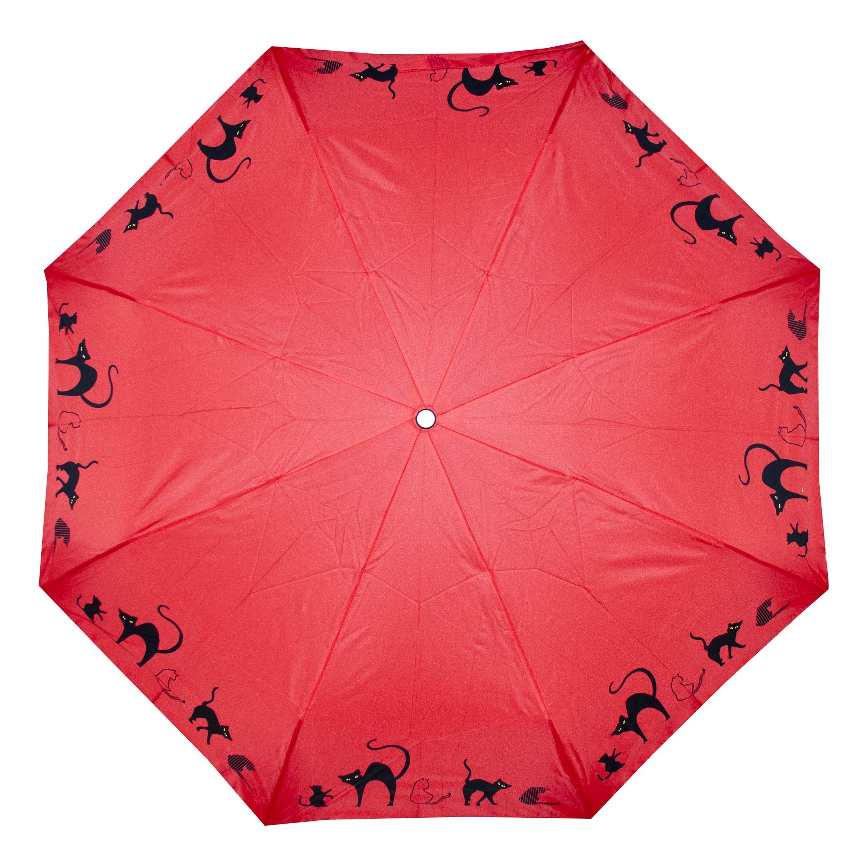 Červený dámský skládací mechanický deštník s motivem koček Somen