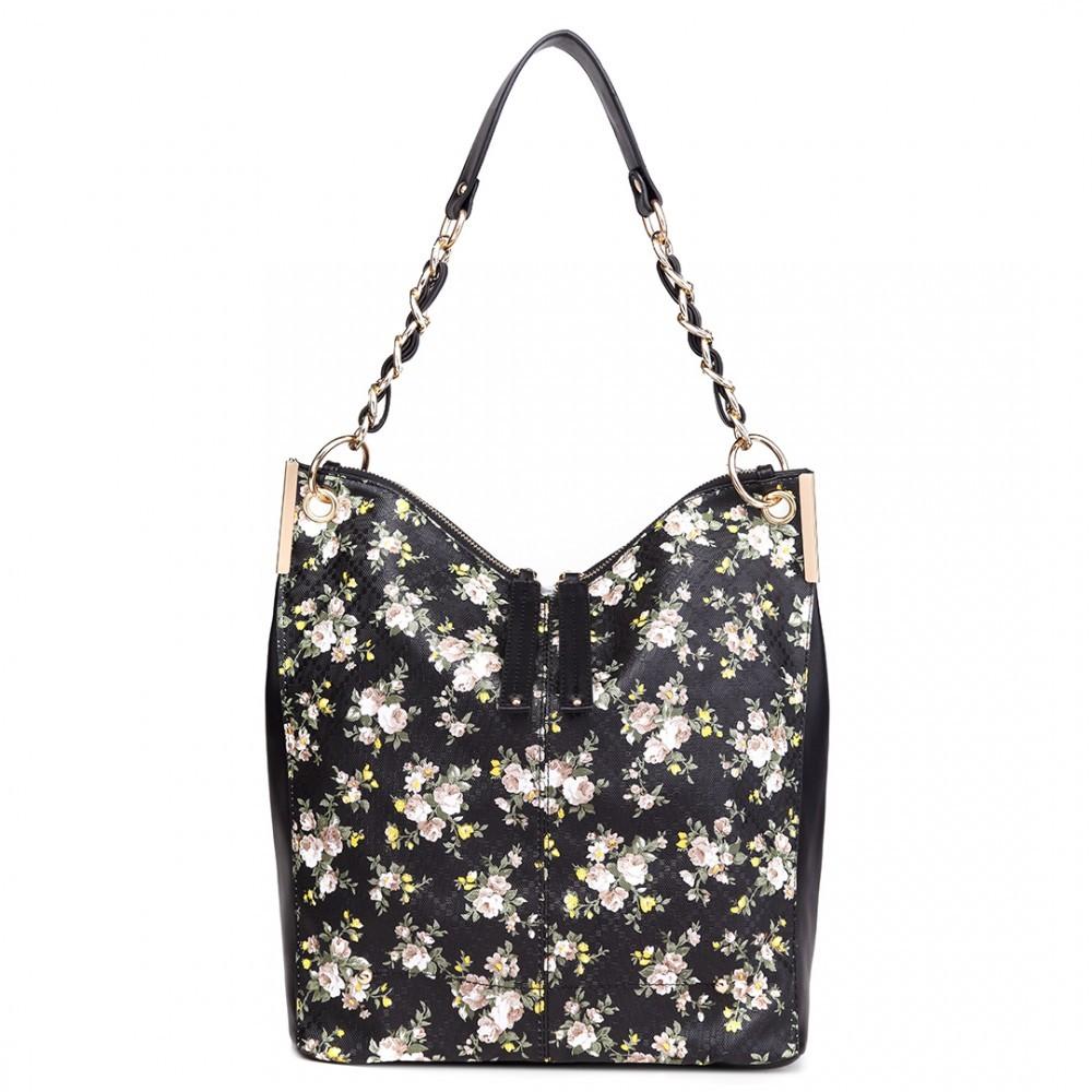a3baa5ecbd Černá dámská květinová prostorná kabelka Leipen
