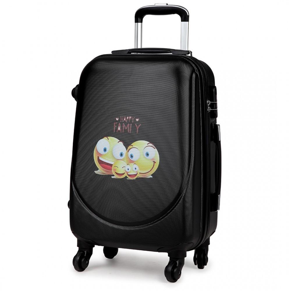 Černý cestovní kufr se zámkem se smajlíky Bolbun