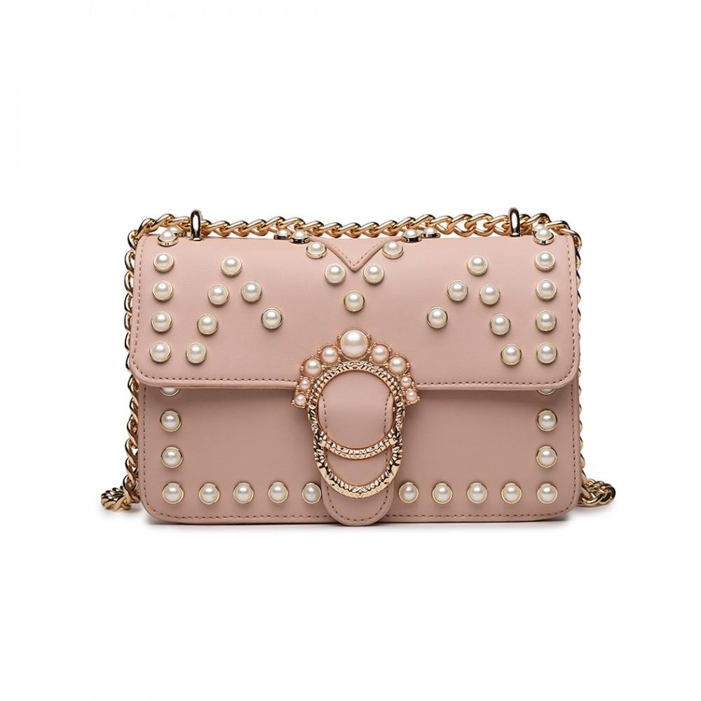 Růžová dámská crossbody kabelka s řetízkvým popruhem Nathelen