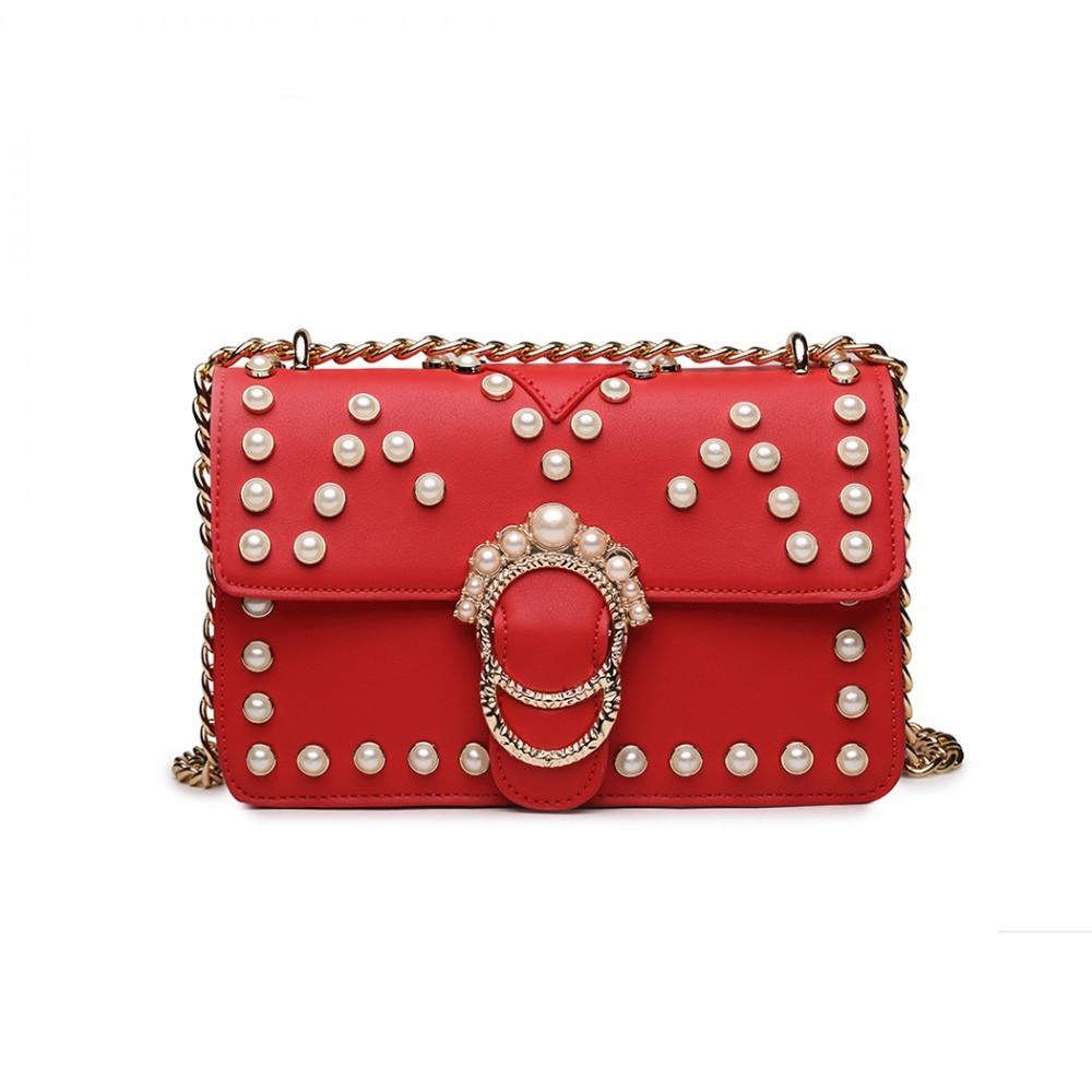 Červená dámská crossbody kabelka s řetízkvým popruhem Nathelen