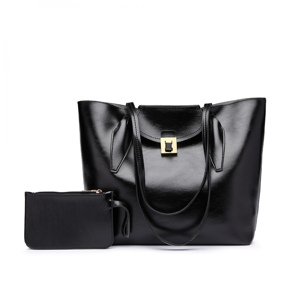 Černá dámská luxusní kabelka 2v1 Terren