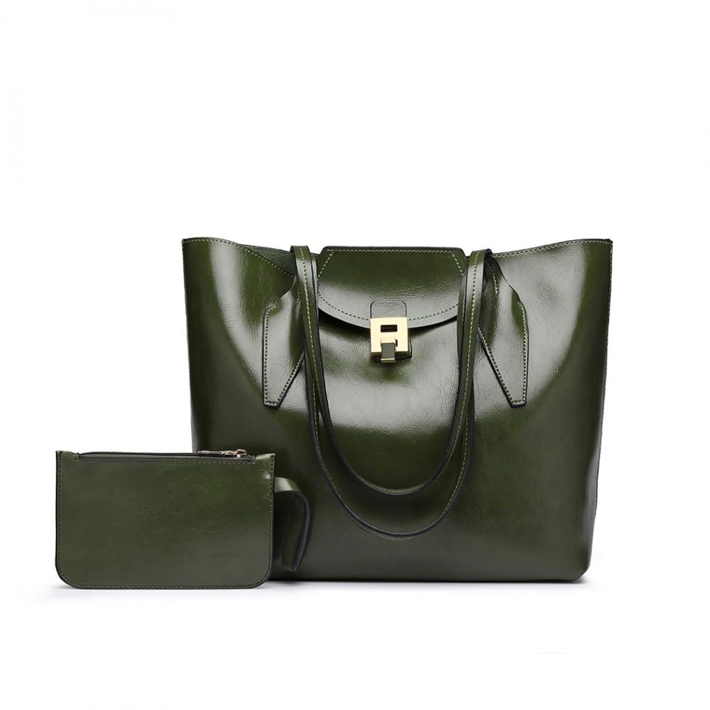 Zelená dámská luxusní kabelka 2v1 Terren
