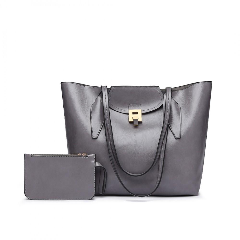 Šedá dámská luxusní kabelka 2v1 Terren