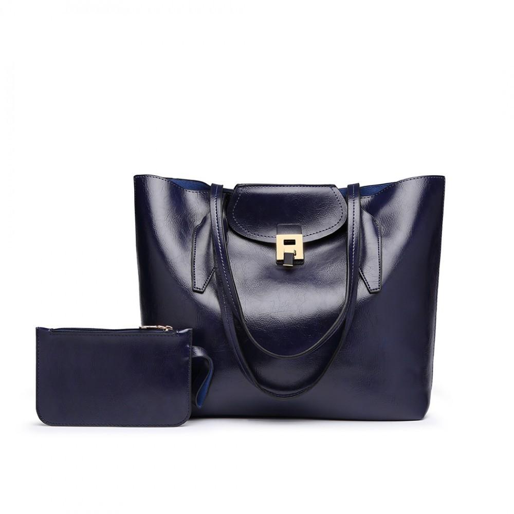 Modrá dámská luxusní kabelka 2v1 Terren