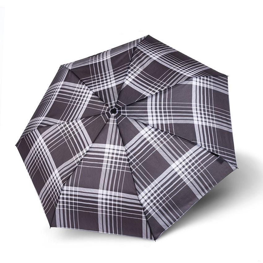 Černošedý károvaný plně automatický skládací pánský deštník Montague