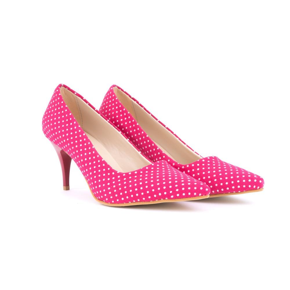 f8311b564391 Růžové kvalitní puntíkované dámské lodičky Ferrie