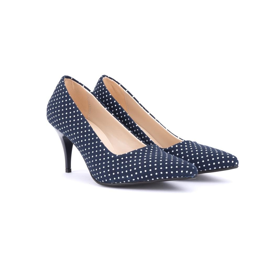 546b9633406f NOBO Modré kvalitní puntíkované dámské lodičky Ferrie