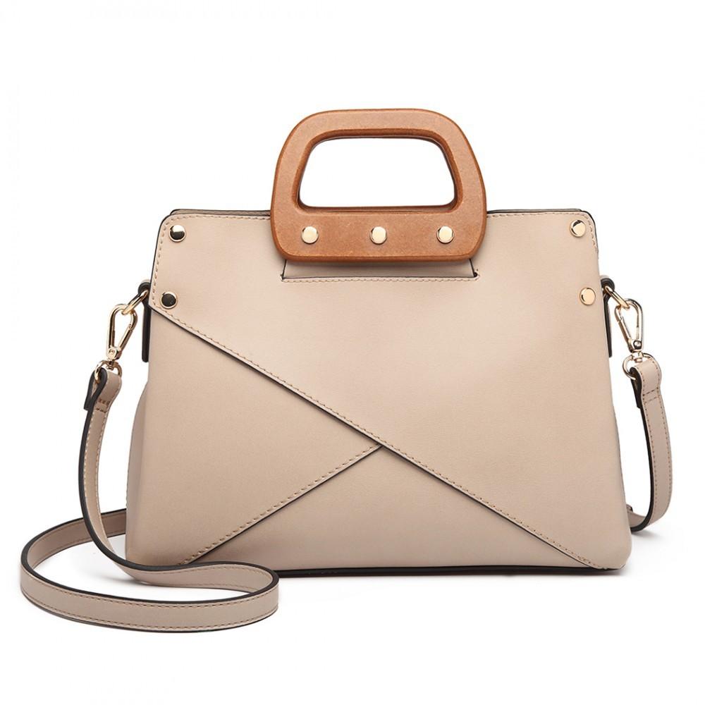 Béžová dámská nadčasová kabelka s dřevěnou rukojetí do ruky i přes rameno  Pandie 04626bb76a5