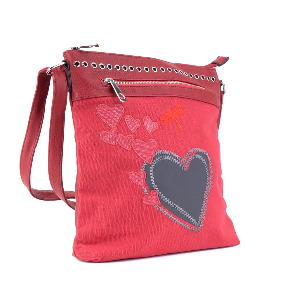 Červená nevšední crossbody dámská kabelka Freni