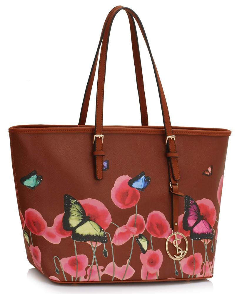 Hnědá květinová dámská kabelka e964e3aa2b