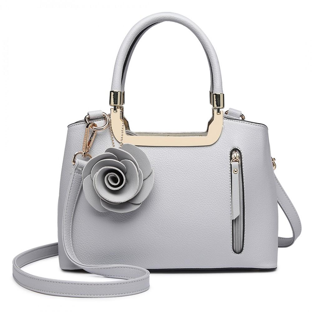 ec781b372f Šedá dámská elegantní kabelka s růží Rokiel