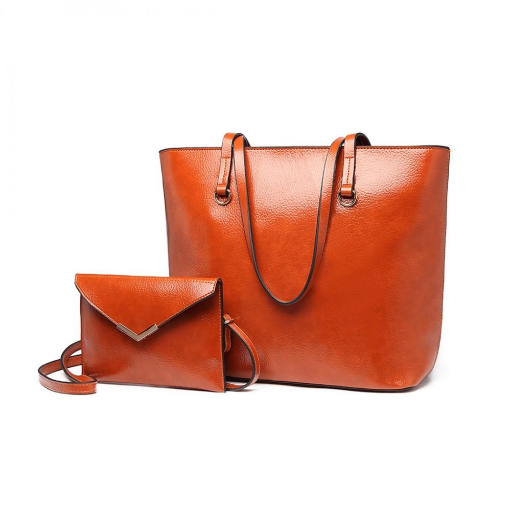 Hnědá dámská luxusní kabelka 2v1 Diana
