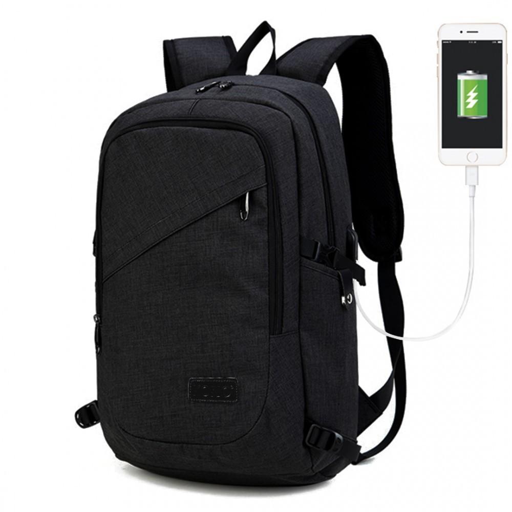 Černý moderní batoh s USB portem Acxa