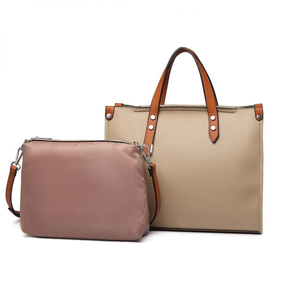 Tmavě béžová dámská elegantní kabelka 2v1 Afea