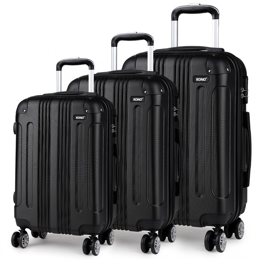Černý cestovní kvalitní prostorný set kufrů 3v1 Amol