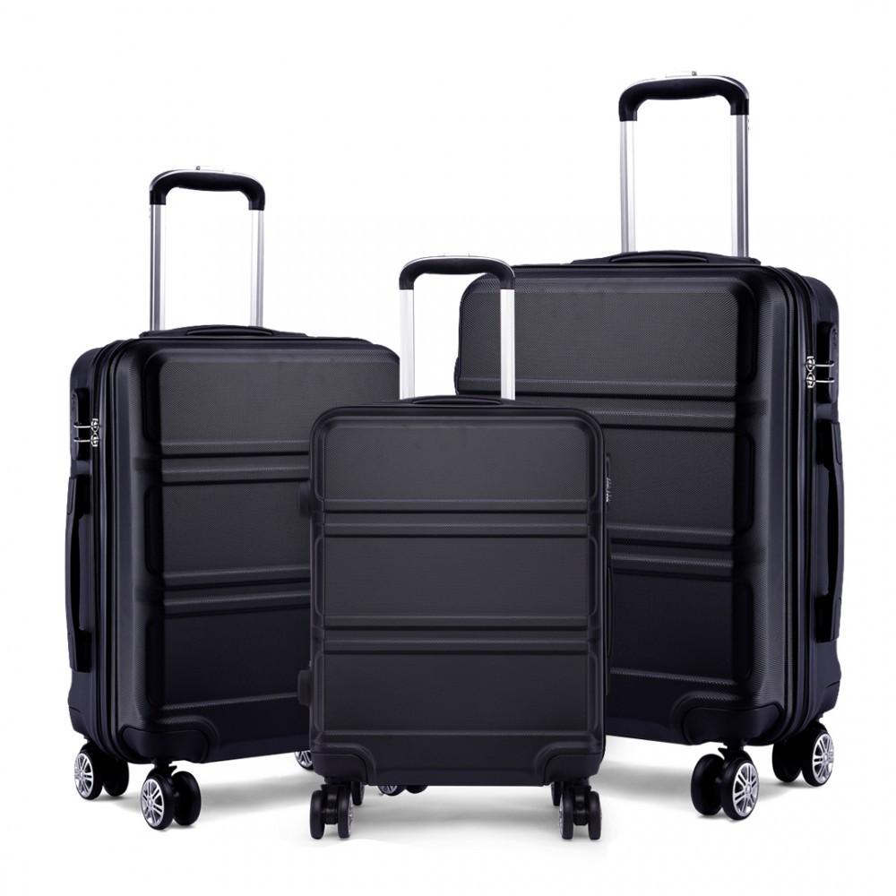 Černý cestovní kvalitní set kufrů 3v1 Perfei