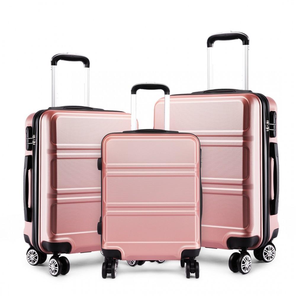 Růžový cestovní kvalitní set kufrů 3v1 Perfei