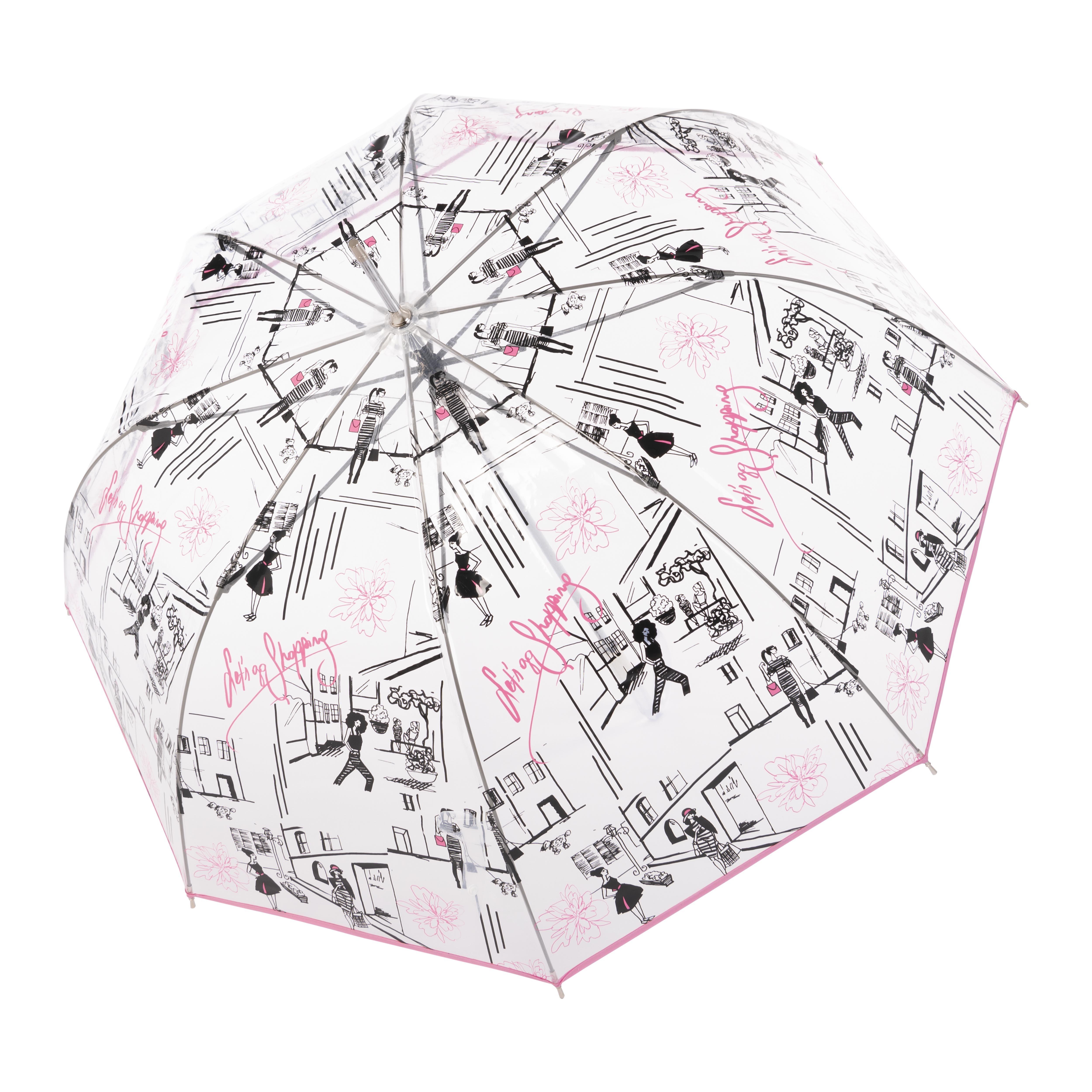Růžový elegantní vystřelovací dámský holový deštník Sable