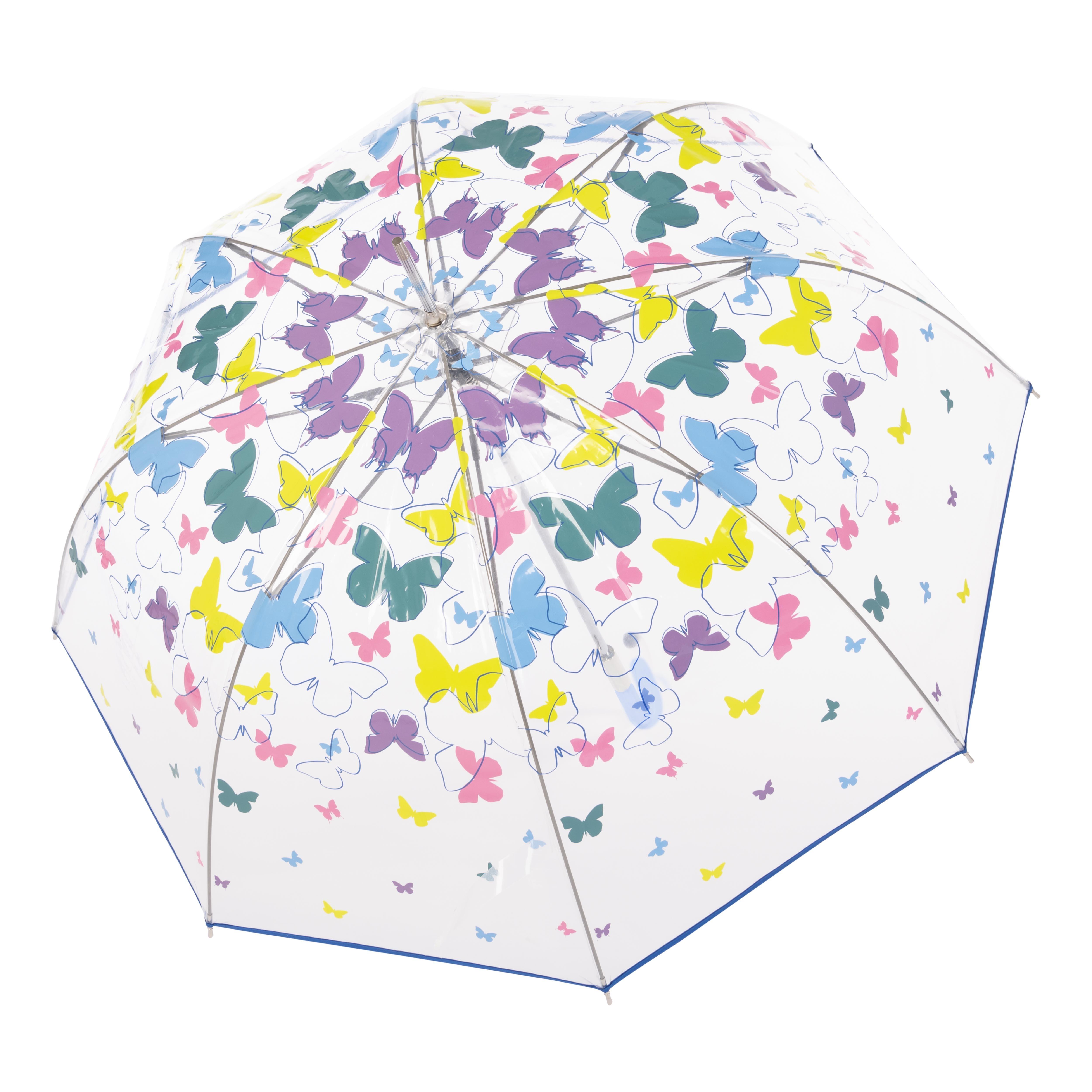 Modrý elegantní vystřelovací dámský holový deštník Sable