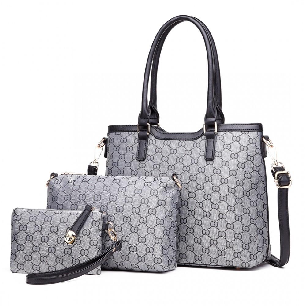 b26cb4329a Šedá luxusní vzorovaná 3v1 dámská kabelka Kannie