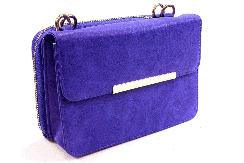 Modrá malá luxusní kabelka spojená s peněženkou 2v1 Albien