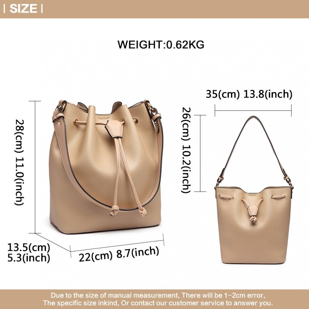 Béžová dámská moderní kabelka ve tvaru vaku Agaja