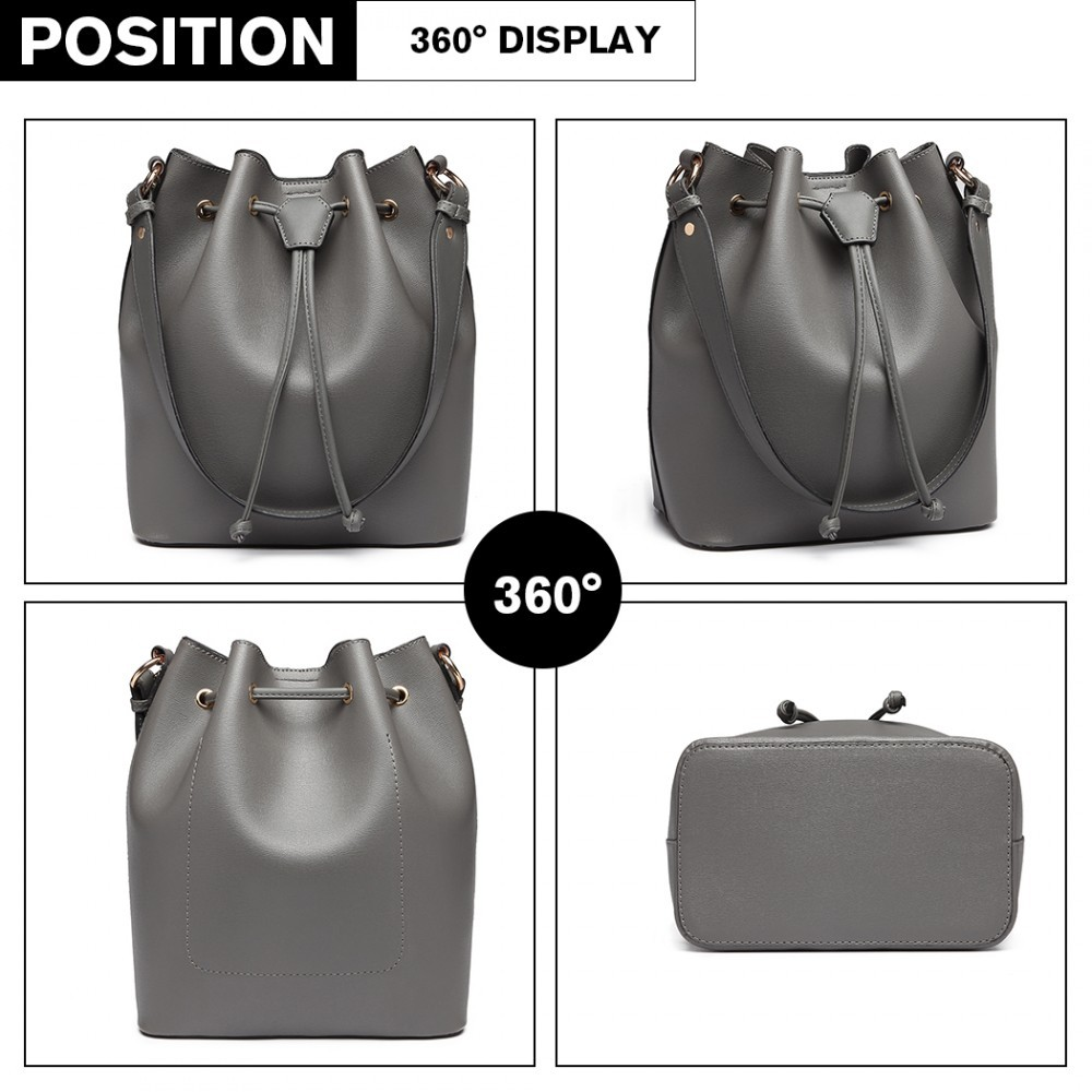 Šedá dámská moderní kabelka ve tvaru vaku Agaja