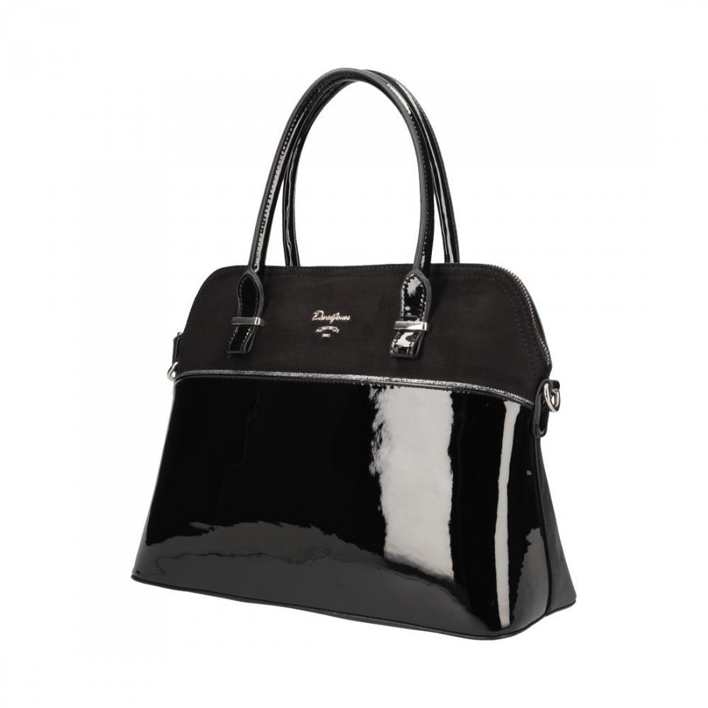 Černá pololakovaná dámská kabelka do ruky Aleah