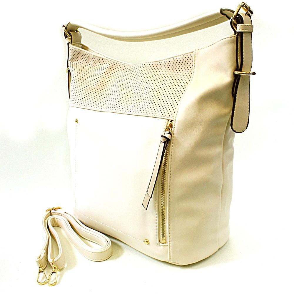 Krémová moderní kabelka na rameno Aksha