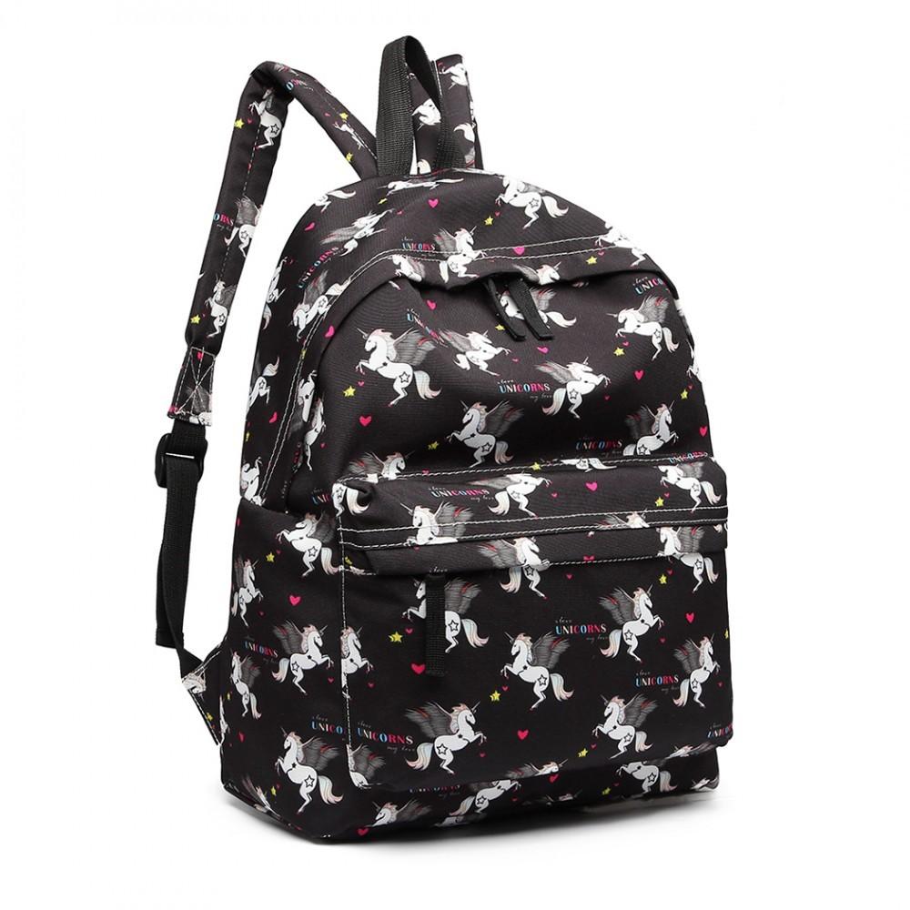 Černý netradiční batoh s obrázky jednorožců Zaclyn