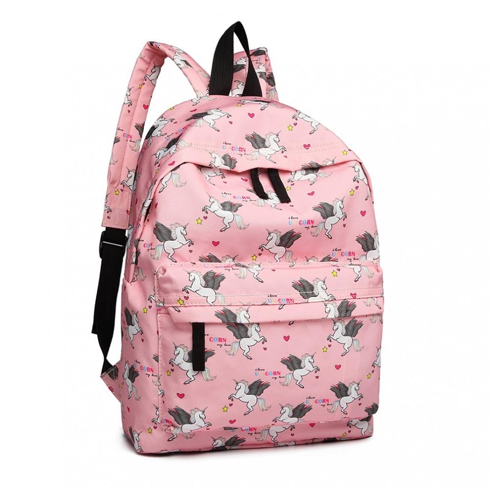 Růžový netradiční batoh s obrázky jednorožců Zaclyn