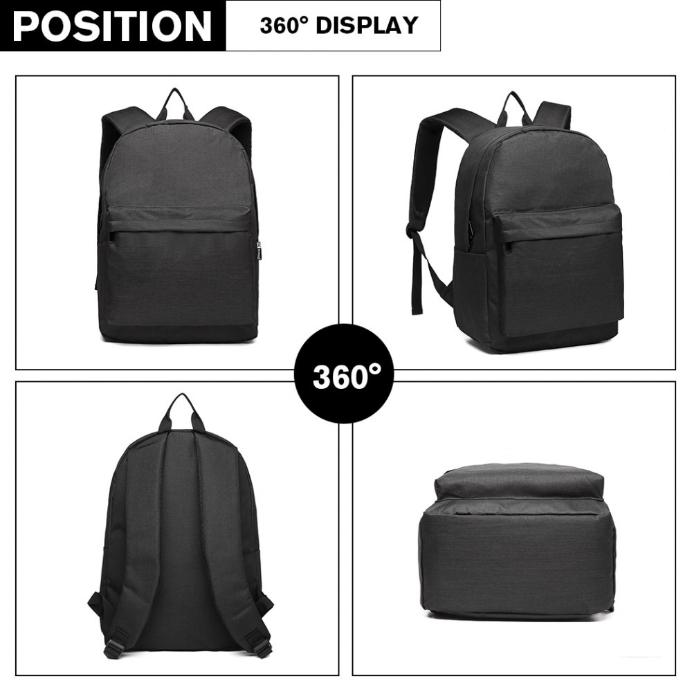 Černý praktický studentský batoh Aksah