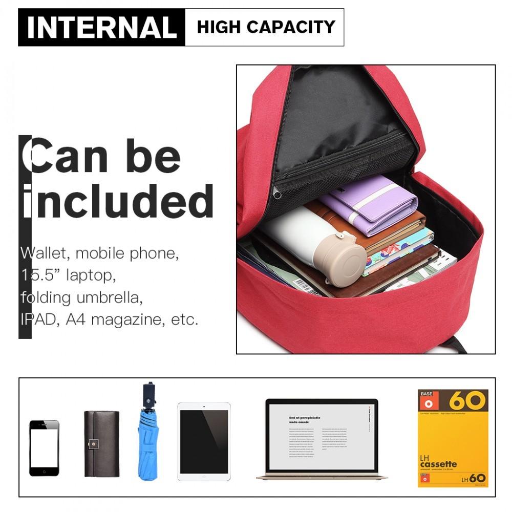 Červený praktický studentský batoh Aksah