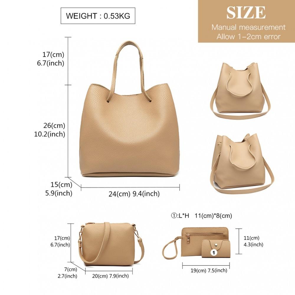 Béžový praktický dámský kabelkový set 4v1 Pammy
