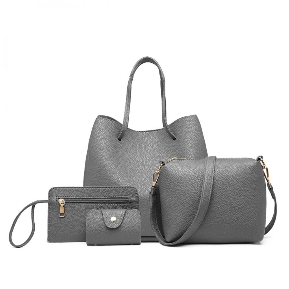 Šedý praktický dámský kabelkový set 4v1 Pammy