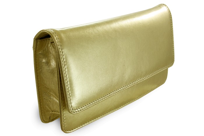 Zlaté kožené dámské psaníčko Lunaries