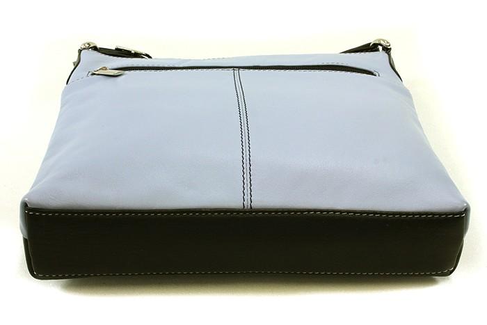 Šedomodročerná dámská kožená crossbody kabelka Vatie
