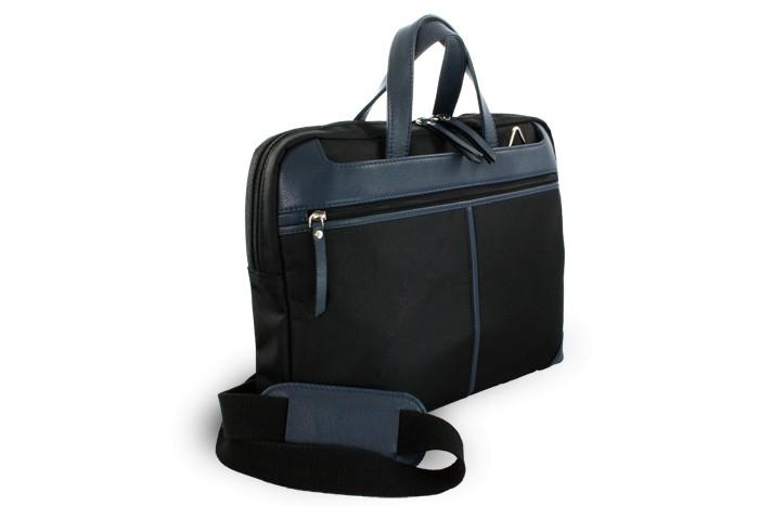 Černo-modrá kožená business taška na notebook Damian