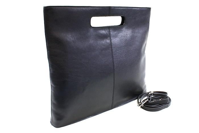 Černá kožená elegantní zipová kabelka Samantha